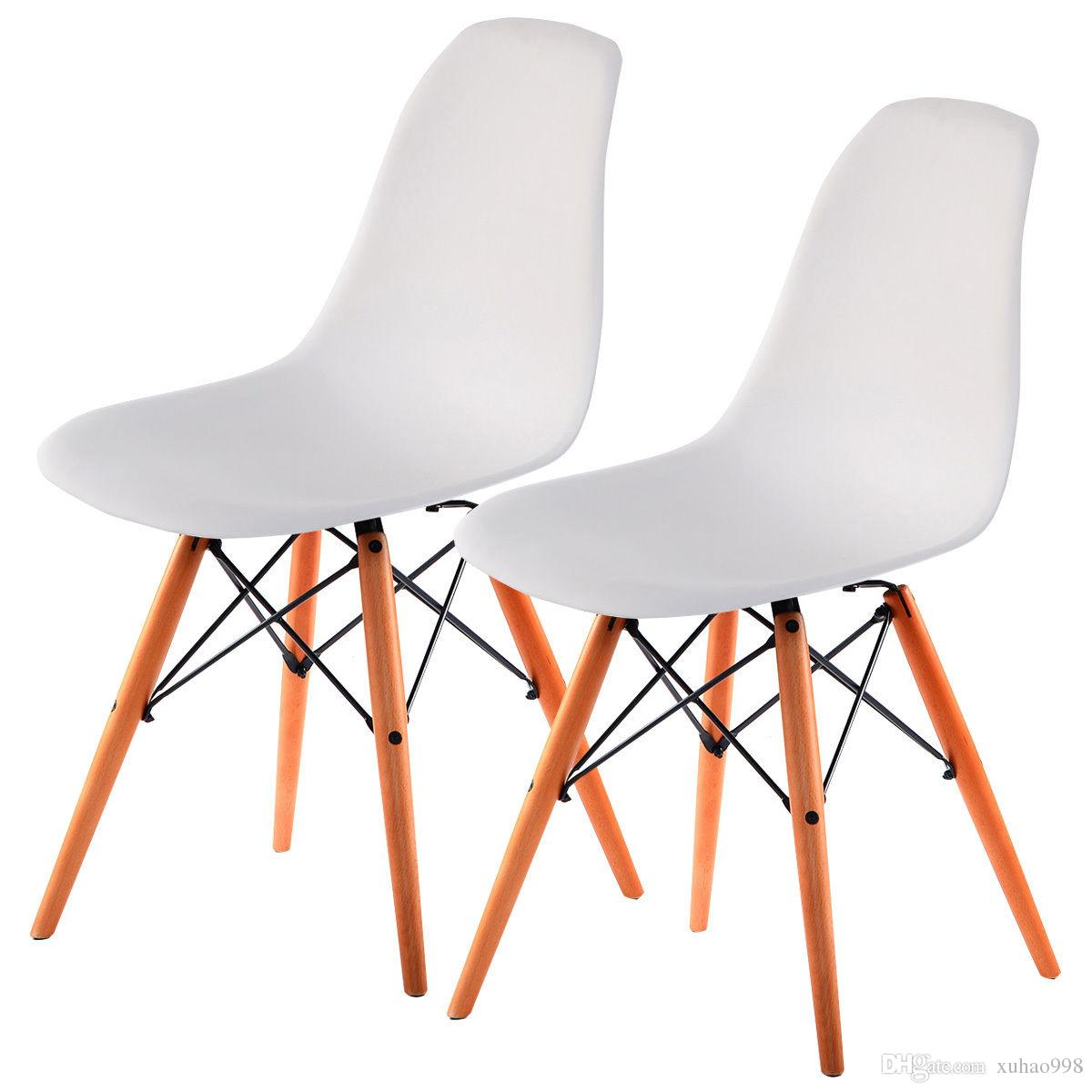 Costway Set Of 2 Mid Century Modern Dsw Dining Side Chair Wood Legs White New