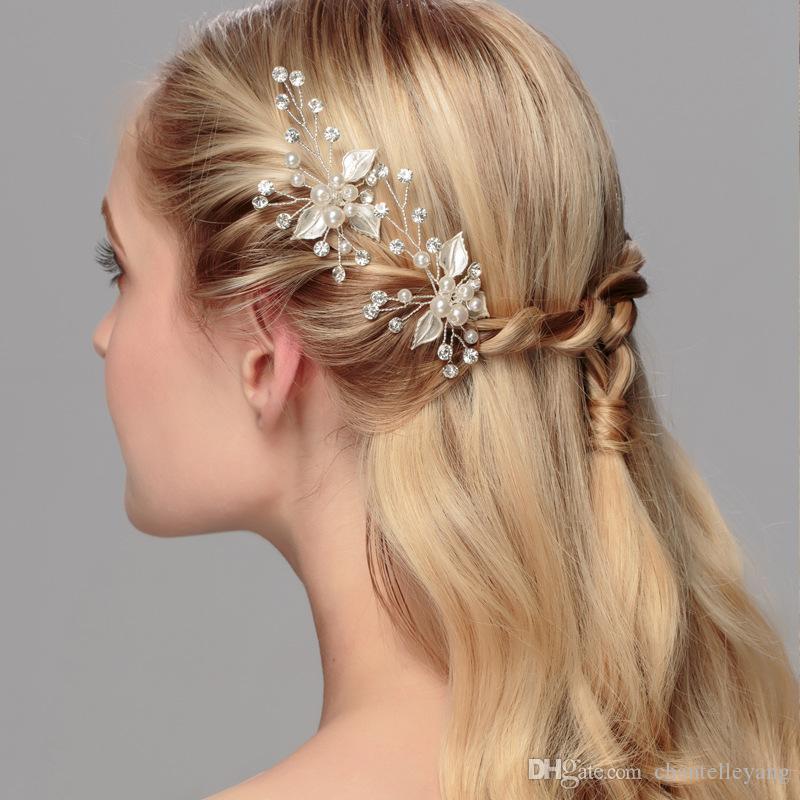 gold silver leaf bridal hair pins handmand crystal pearls good quality princess headpiece clip pin wedding bride hair jewelry modest design
