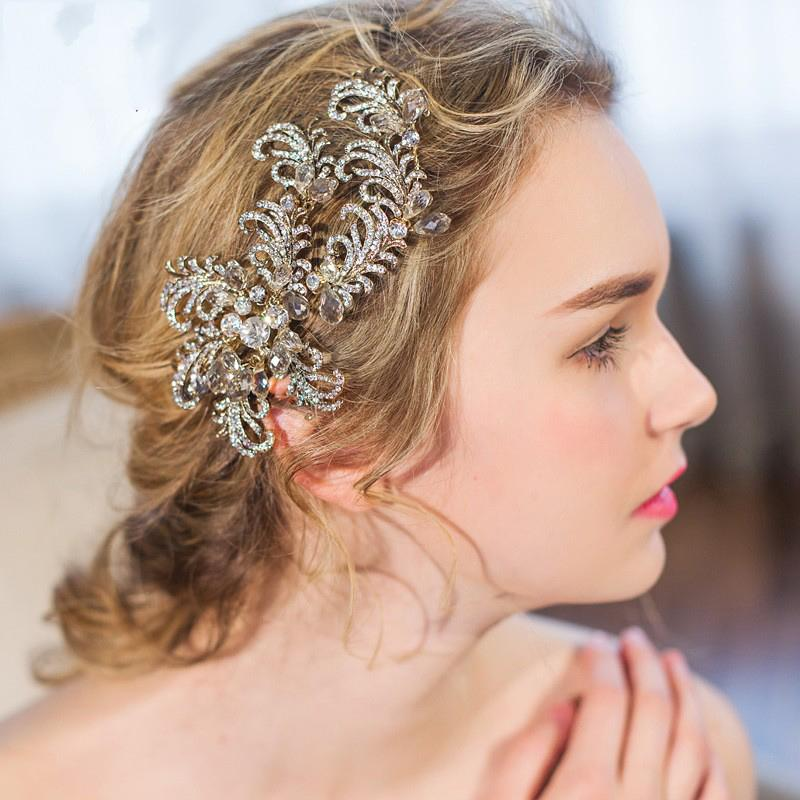 2019 beijia rhinestone branch hair clip barrettes vintage wedding headpiece bridal hair accessories comb handmade women jewelry from beijia2013