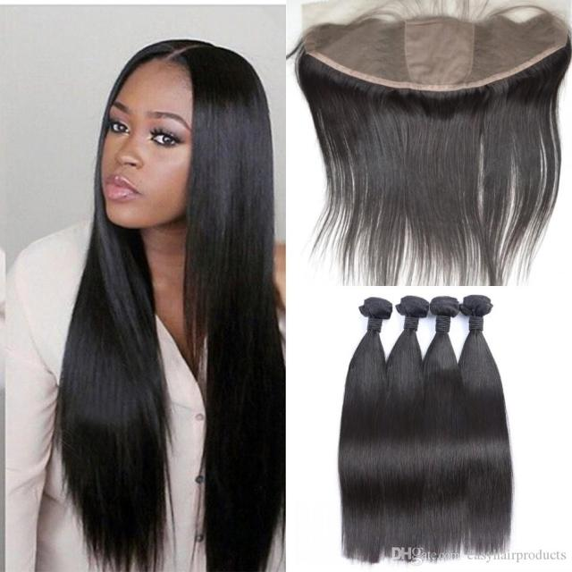 13x4 silk base lace frontal closure with bundles virgin brazilian straight human hair full frontal closure with baby hair g-easy