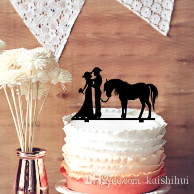 2018 Unique Wedding Cake Topper Cowboy And Cowgirl Silhouette     2018 Unique Wedding Cake Topper Cowboy And Cowgirl Silhouette Wedding Cake  Topper With Horse   Bride And Groom Wedding Cake Topper From Kaishihui