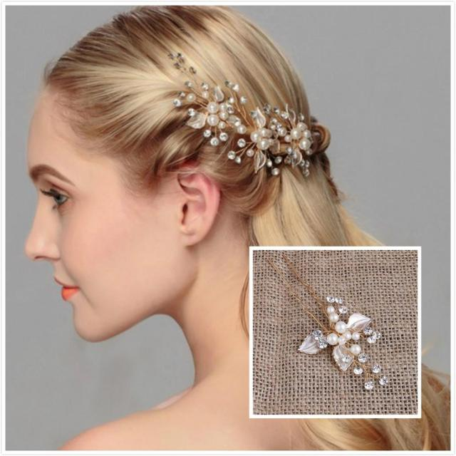 exquisite wedding hair jewelry pearls u pins bridal head pieces bridal hair accessories party hair decoration