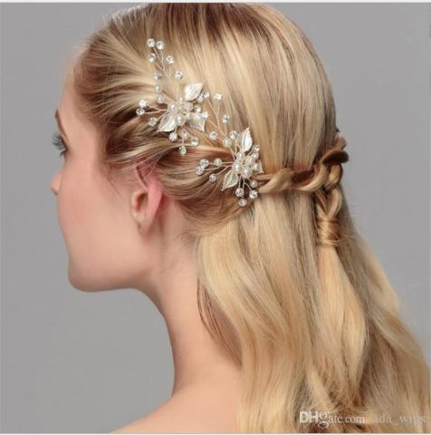 New Handmade Wedding Bridal Prom Women Hairpin Silver Gold Rose Gold     New Handmade Wedding Bridal Prom Women Hairpin Silver Gold Rose Gold Plated  Bling Flower Hair Accessories Ms Evening Hair Jewelry Hair Pin Sparkly Hair