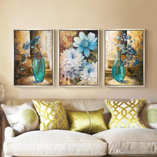 2017 Modern Minimalist European Blue Flower Living Room Decorated Wall Paintings Painted Background Home Decoration Mo From