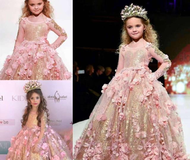 Gold Sequined Ball Gown Girls Pageant Dresses Long Sleeves Toddler Flower Girl Dress Floor Length D Appliques First Communion Gowns Affordable Pageant