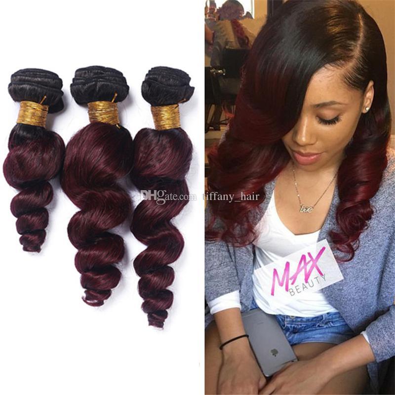 Ombre 1B 99J Loose Wave Virgin Peruvian Human Hair