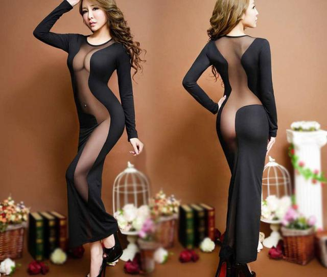 2016 New Porn Women Hot Costumes Sexy Dress Underwear Black Erotic Lingerie Lace Transparent Exotic Dancewear Elegant Sleepwear