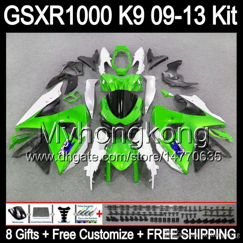 48f5d22572d24 இ 8gifts gloss verde Para SUZUKI GSXR1000 09 10 11 12 13 GSXR-1000 12MY61  GSX R1000 K9 GSXR 1000 2009 2010 2011 2012 2013 verde preto Carenagem - a862