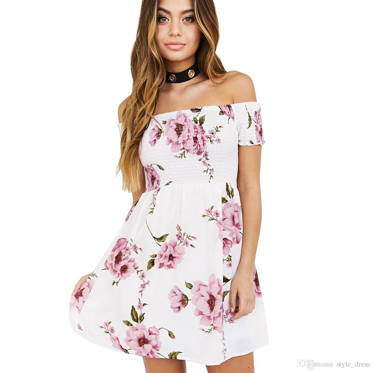 Women Off Shoulder Floral Print Summer Dressy Short