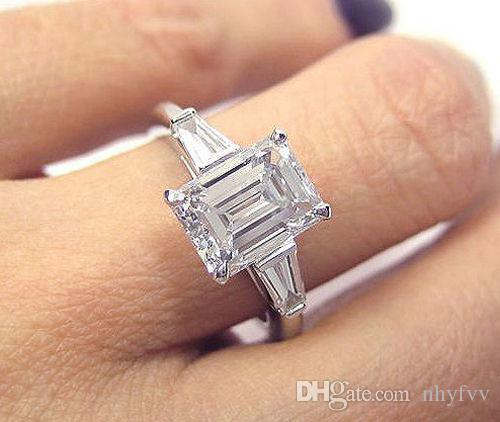 Discount Platinum 2 00 Ct 3 Stone Emerald Cut Baguette Diamond     Discount Platinum 2 00 Ct 3 Stone Emerald Cut Baguette Diamond Engagement  Ring H Vs1 From China   Dhgate Com