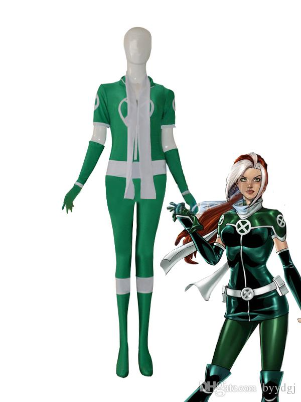 X Men Rogue Green Custom Superhero Costume Halloween Party