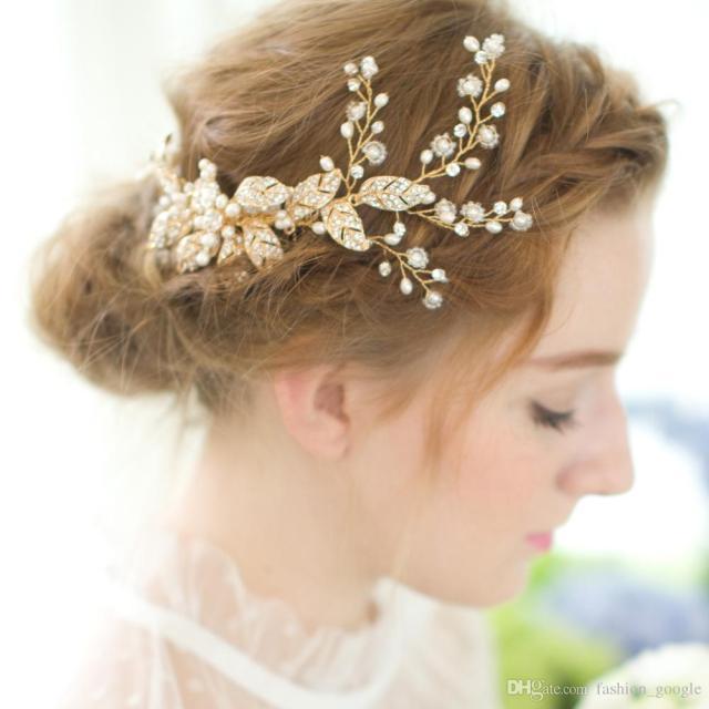 vintage gold bridal hair combs for weddings 2018 fashion bridal headpieces pearls rhinestones & crystals for fairy brides 16.5cm*10.5cm