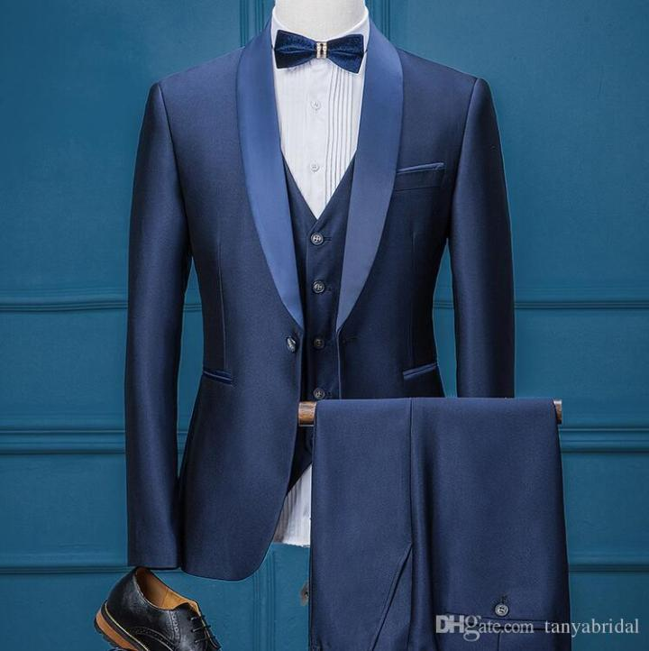 0f02bc27a4f ... Best Man Wedding Men Suits. Groom Tuxedos Dark Blue Groomsmen Ready To  Wear Three Piece Suit