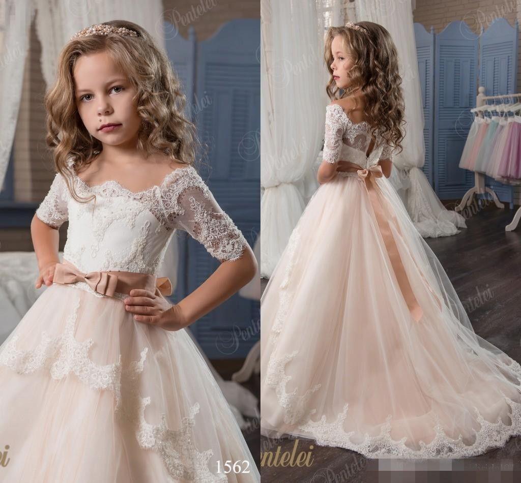 36869d452e Vintage Flower Girl Dresses Lace