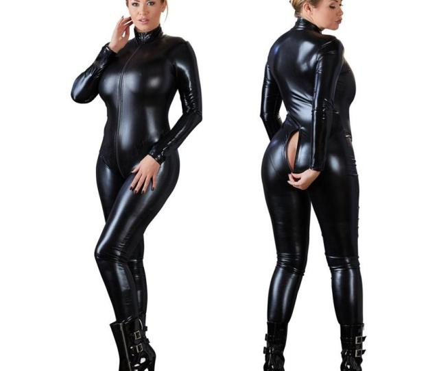 2019 Women Sexy Black Open Crotch Zentai Catsuit Jumpsuit Faux Leather Leggings Pants Club Zipper Long Sleeve From Chinagoodies 20 31 Dhgate Com