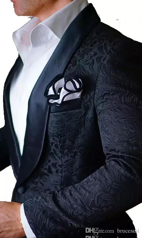 2017 Fashion Black Paisley Wedding Tuxedos British Style