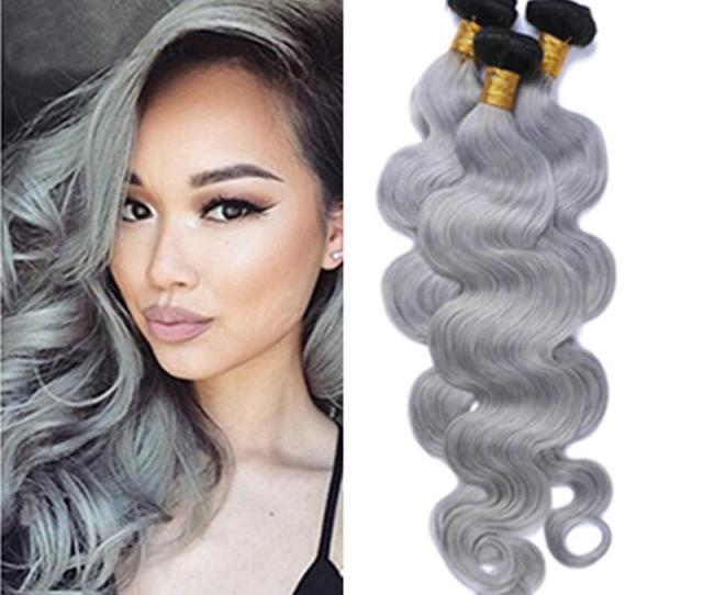 Brazilian Short Weave Hair Extensions Remy Hair B Silver Grey Ombre Body Wave Short Hair Weft Ombre Grey Bundles