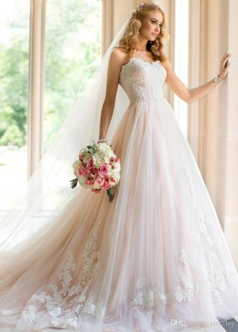 light wedding dresses   Wedding Sweetheart Prince Aline Wedding Dress Online Light Blush