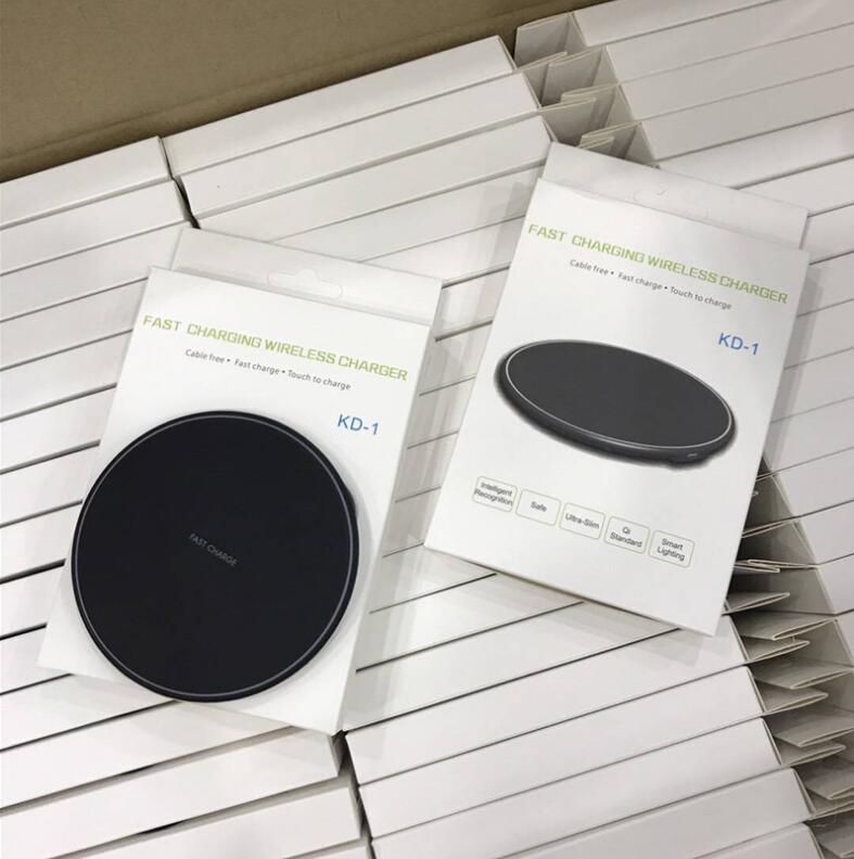 KD-1 Cargador inalámbrico universal Qi 9V carga rápida para Samsung Galaxy Note 8 S8 Plus Cargador USB para iPhone X 8