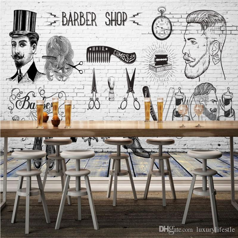 3d Stereo Custom Hd Vintage Barber Shop Background Wall