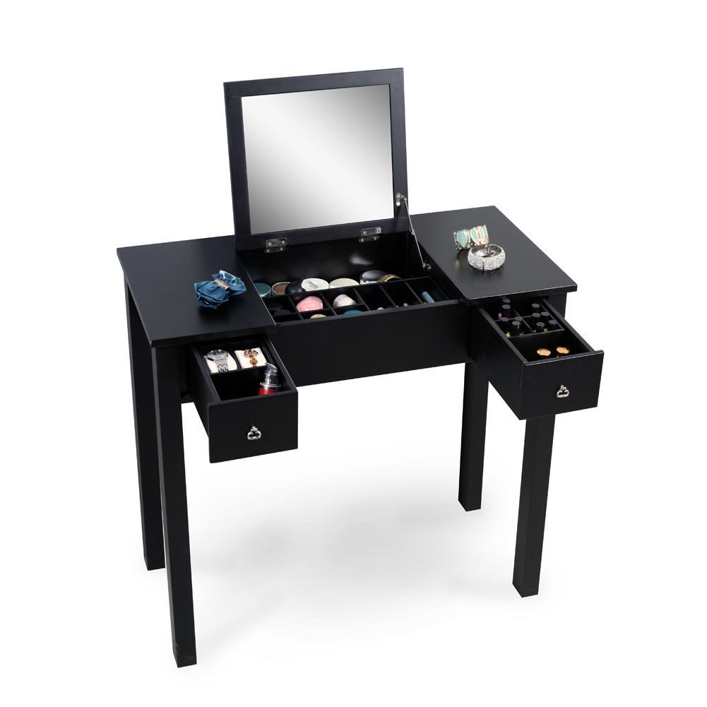 acheter noir vanity table coiffeuse avec dressing miroir maquillage organisateur de stockage soild peinture en bois livraison gratuite de 150 66 du