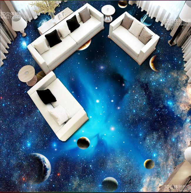custom space star planet 3d floor wall painting bedroom living