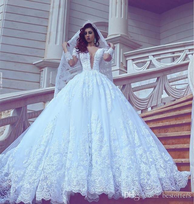 Sposabella beaded long sleeve wedding dresses designer