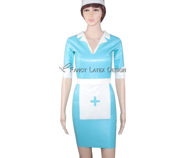 Lake Blue Sexy Fetish Latex Nurse Uniform Sets Rubber Dress With Headgear Apron Zipper At Back Lyq 0008 Costumes For Groups Of 8 Funny Group Costumes For