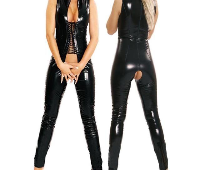 Black Sleeveless Jumpsuit Open Crotch Costumes Spandex Erotic Fetish Catsuit Latex Faux Pvc Leather Jumpsuit From Blueberry07
