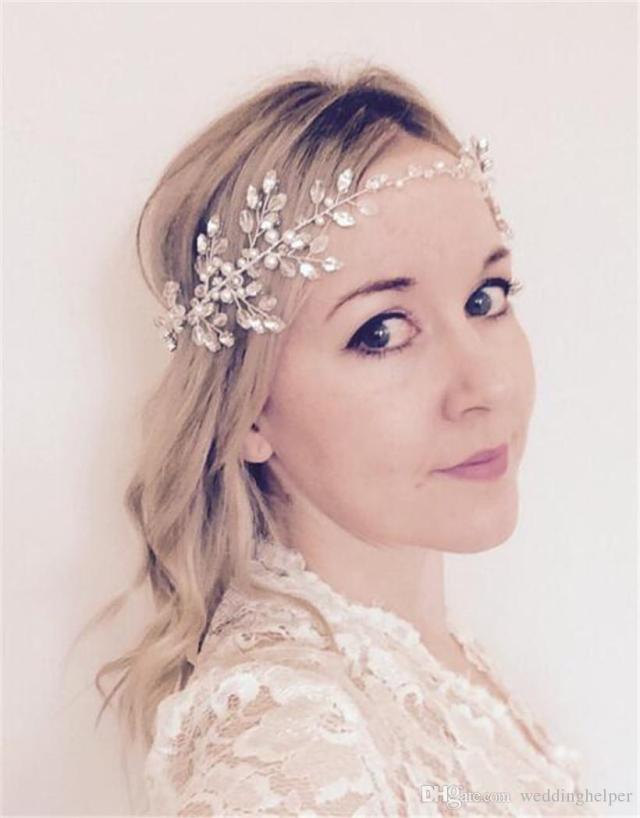 wedding bridal pearl headband hair band ribbon crystal rhinestone crown tiara princess queen headpiece jewelry silver forehead hair chain