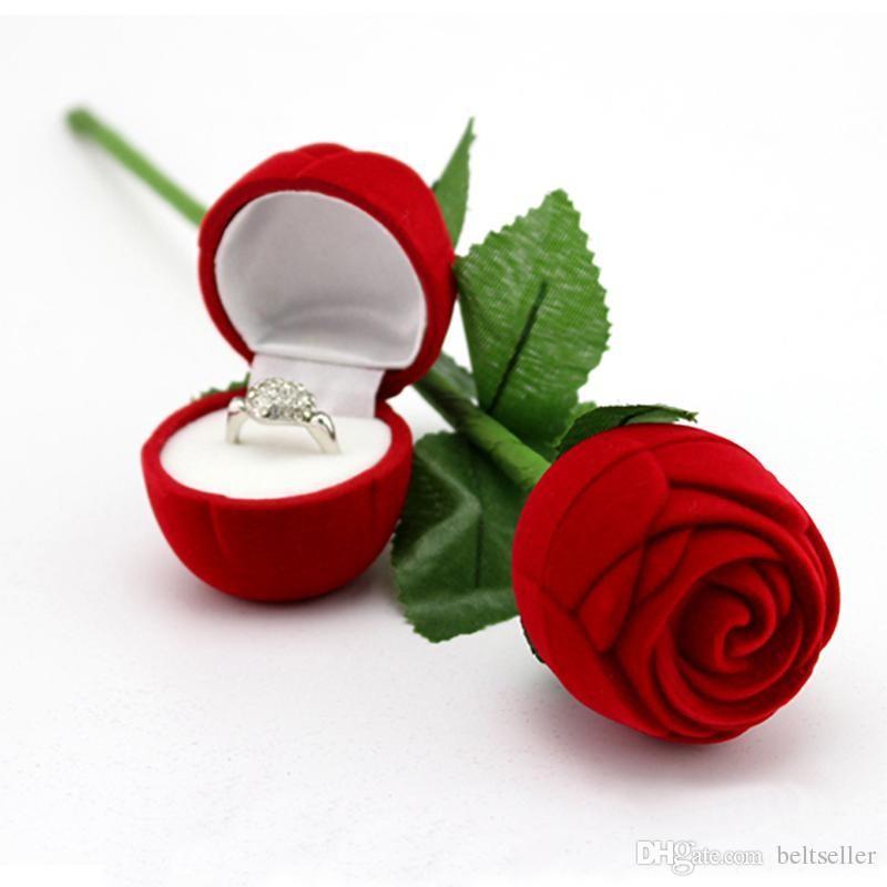 2018 Romantic Red Rose Flower Velvet Wedding Ring Holder