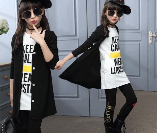 Children Girls Clothing Sets Autumn Teenage Girls Sport Suit School Kids Clothes Tracksuit Long Coat Leggings Girls Clothes Children Clothing Girl Clothes