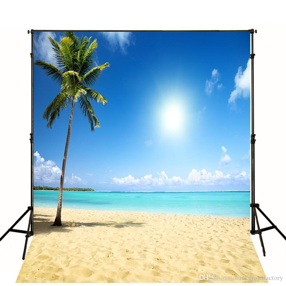2018 10x10ft Tropical Beach Themed Backdrop Cloth Beautiful Scenery Blue Sky White Clouds