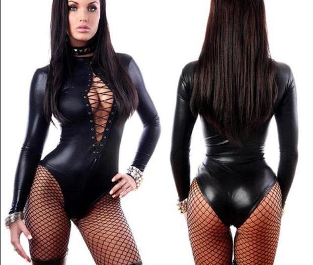 Hot Women Sexy Black Vinyl Leather Lingerie Bodysuits Erotic Leotard Costumes Rubber Flexible Latex Catsuit Catwomen Costume Latex Catsuit Catsuit Latex