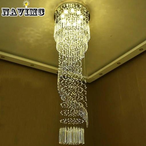 Modern Large Crystal Chandelier Lighting For Hotel Hallway Stairwell     Modern Large Crystal Chandelier Lighting For Hotel Hallway Stairwell Long  Stair Light Led Hanging Ceiling Lmap Living Room Lamp Brass Ceiling Lights  Small