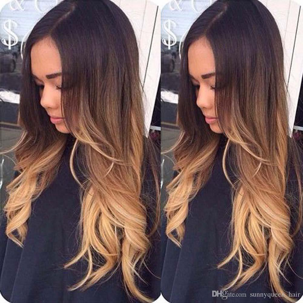 Body Wave 3T2427 Blonde Ombre Full Lace Human Hair Wigs
