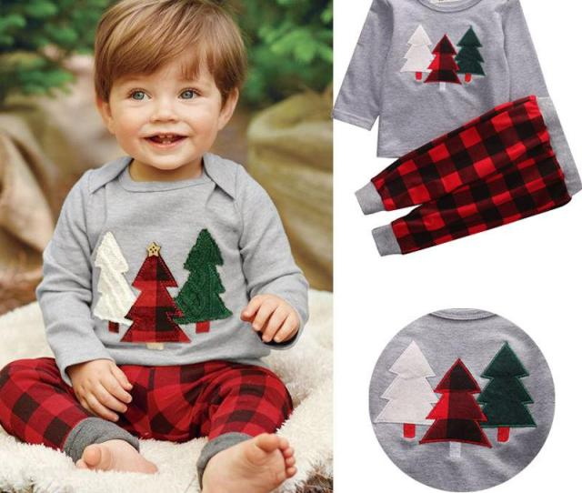 Cotton Boys Suits Christmas Clothes Baby Boys Clothing Set Children Kids Christmas Tree T Shirts Plaid Pants Two Piece Baby Boy Clothes Set From