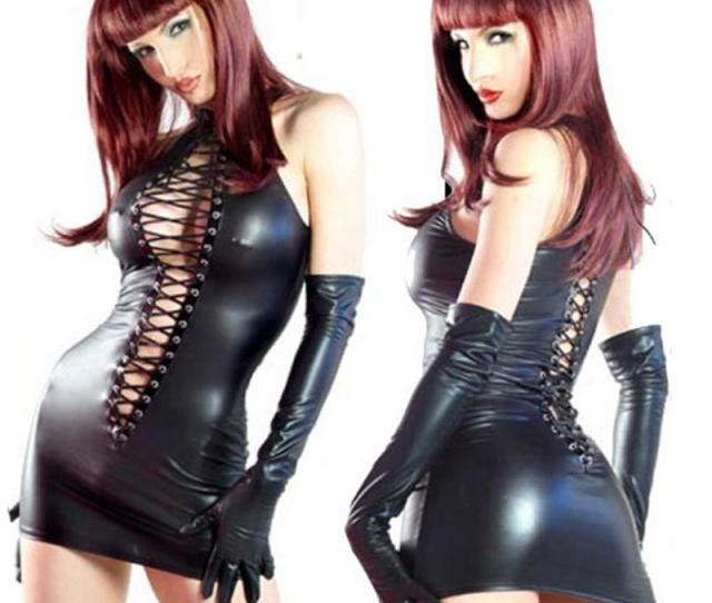Black Faux Leather Night Dress Tenue Sexy Latex Femme Babydoll Sexy Lingerie Sleepwear Women Underwear For Sex Including Gloves