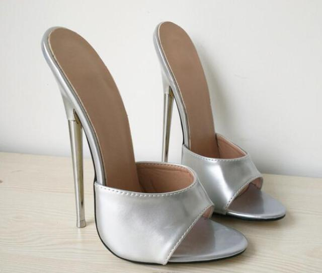 Free Ship 2018 Women Sandals Summer Heels 18cm 7 Extreme High Silver Shoes Sexy Fetish Metal Thin Heel Slip On Slides Customize Plus Size Designer Shoes