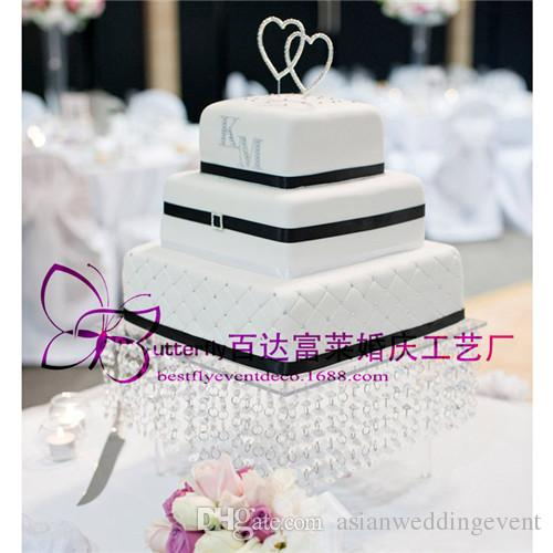 Wedding Crystal Acrylic Cake Stand   16 Inches Square Cake Display     Wedding Crystal Acrylic Cake Stand   16 Inches Square Cake Display Cupcake  Holder with Bead Strands Wedding Crystal Acrylic Cake Stand 16 Inches  Square Cake