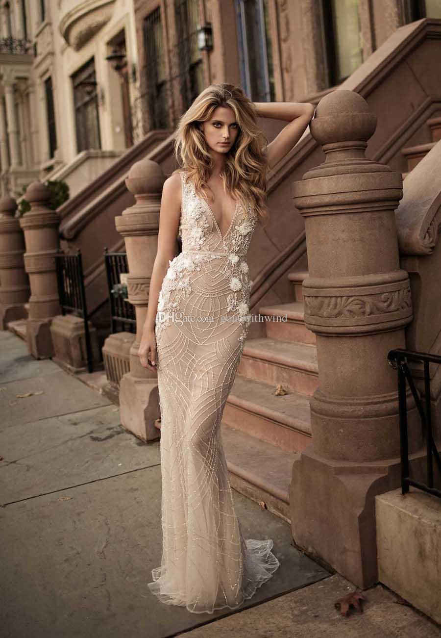 Elegant Sexy Sheath Wedding Dresses 2017 Berta Bridal Sleeveless Deep V Neckline Full