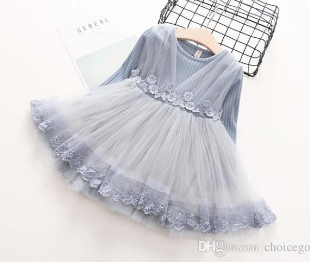 Kids Girls Knit Sweater Dresses Baby Girl Lace Tutu Dress Autumn Winter Princess Embroidery Dress Gray Color From Choicegoods Dhgate Com