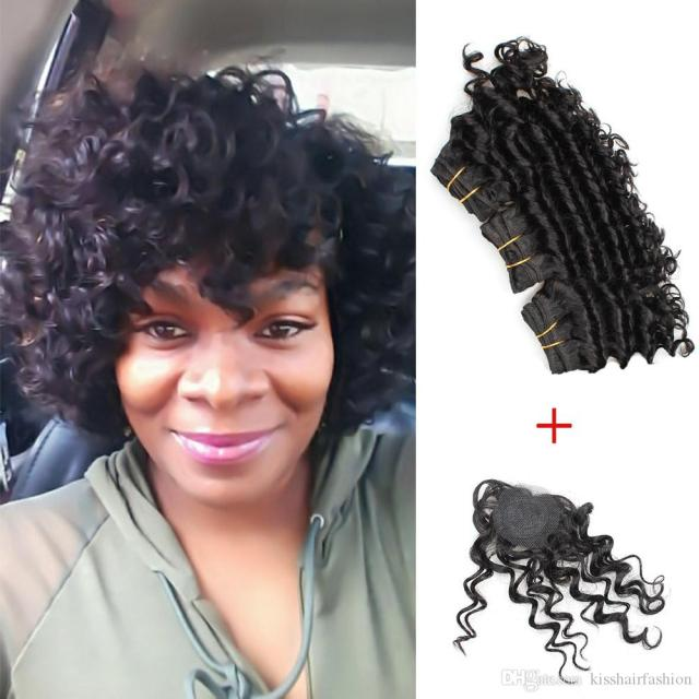 kiss hair 8 inch deep wave unprocessed virgin remy human hair weave short bob style 165g brazilian deep curly virgin hair natural black