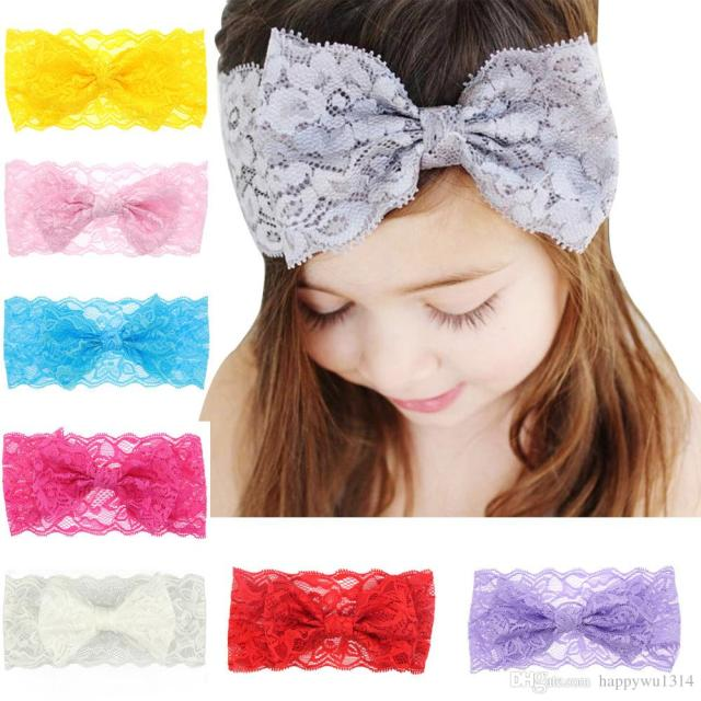 baby hair accessories lace bows flower headbands for girls infant big bow elastic hairbands childrens vintage head wrap party headdress