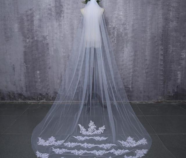Bride Veils White Applique Tulle  Meters Veu De Noiva Long Wedding Veils Bridal Accessories Lace Bridal Veil Bridal Veils Canada Bridal Veils