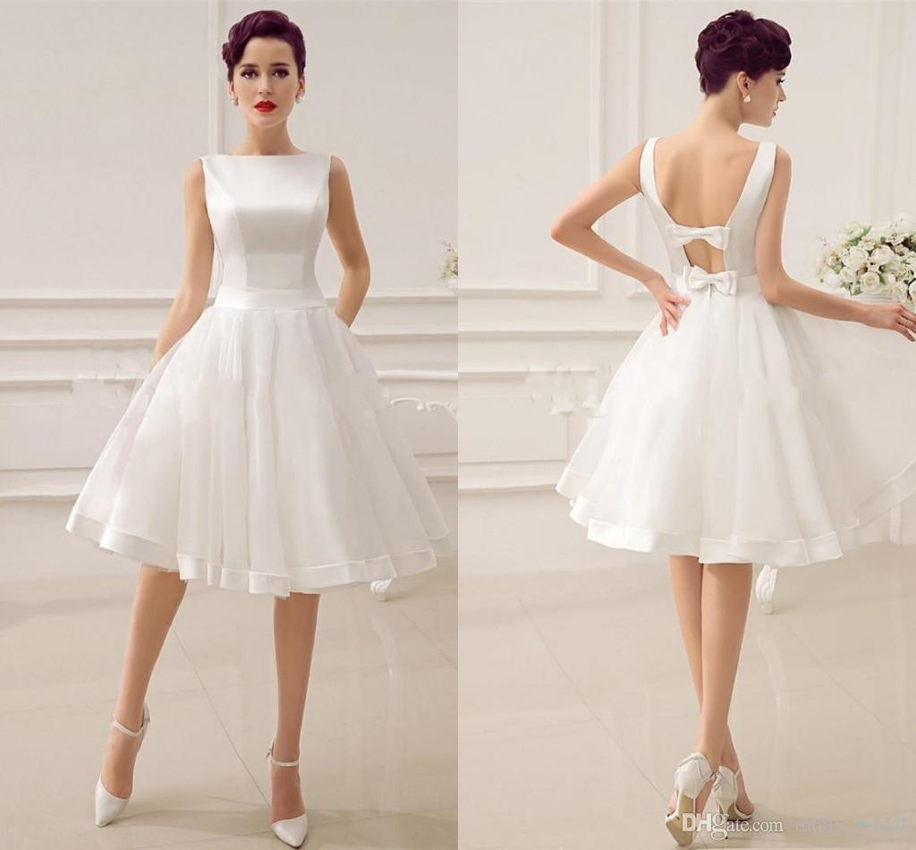 Simple Cheap Short Wedding Dresses Ball Gown Bateau