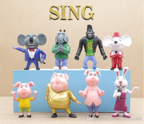 2018 Sing Movie Cartoon Buster Moon Johnny Rosita Gunter Meena Mike     2018 Sing Movie Cartoon Buster Moon Johnny Rosita Gunter Meena Mike Doll  Pvc Action Figure Toy Cake Topper Kids Gift 3 4 Inches From  Lucky clover888