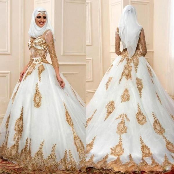 Discount Modern Muslim Wedding Dresses 3 4 Sleeves With Gold     Discount Modern Muslim Wedding Dresses 3 4 Sleeves With Gold Appliques  Arabic Bridal Gown Indian Style Engagement Dress Robe De Mariage Wedding  Dresses Usa