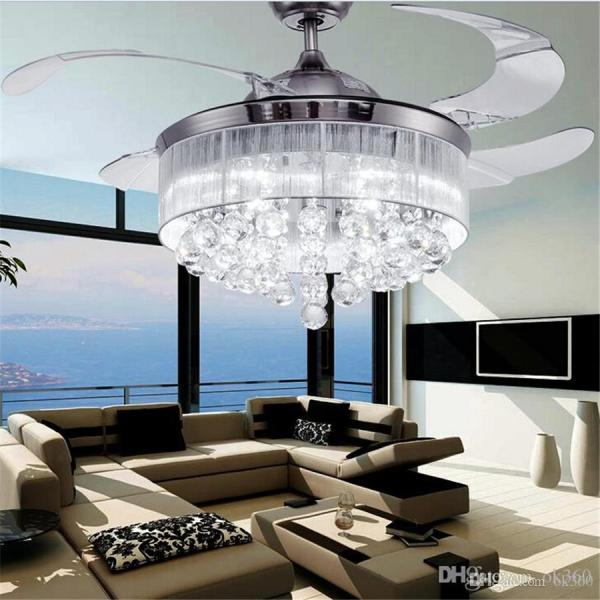 Led Ceiling Fans Light AC 110V 220V Invisible Blades Ceiling Fans     Led Ceiling Fans Light AC 110V 220V Invisible Blades Ceiling Fans Modern Fan  Lamp Living Room Bedroom Chandeliers Ceiling Light Pendant Lamp Online with