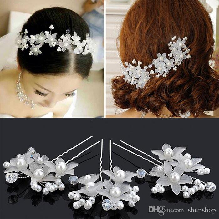 2019 vintage bridal hairpins handmade wedding leaves flower bridal hair pins pearl wedding hair accessories headpiece party hair jewelry from shunshop